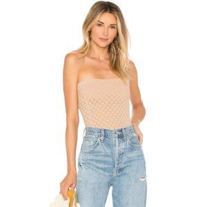 FP Honey Textured Tube Natural Cut-Outs Lace Top